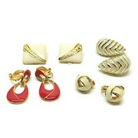 Enamel & Gold Tone Clip On Earrings Lot, Cream & Red, 4 Pairs, Vintage