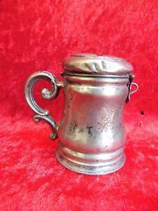 Antique Tirelire __Argent__ Um 1830 __ En Forme Un Kruges ___