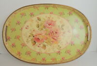 "VTG Romantic Roses Serving Tray Lattice Plastic Farmhouse Chic 17"" x 12"" Barware"