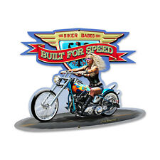 BIKER BABE BUILT FOR SPEED Schild Metall 43cm! US V2 Chopper Harley Indian Moped