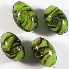Lot de 4 Perles ovales en verre Lampwork Murano 10 x 16mm Vert