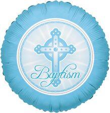 "18"" Baby Boy Baptism Round Balloon Party Decoration Celebration Blessing Blue"