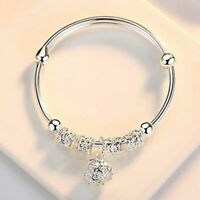 Women Fashion Jewelry 925 Sterling Silver Plated Cuff Charm Bangle Bracelet Gift
