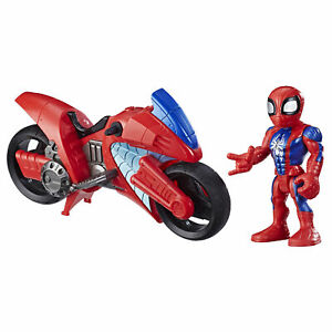 Marvel Super Hero Adventures toys, Spider-Man 5in. Figure and Motorcycle Set
