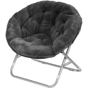 Faux Fur Saucer Chair Accent Seat Dorm Living Room Lounger Portable Steel Frame
