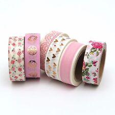 Pink Washi Tape Set Rose Gold Foil Diamonds Hearts Florals Lace   6 x 10m