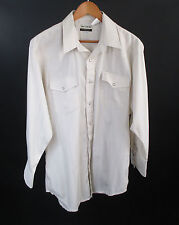Karman Gold Collection Eggshell Pearlsnap Button Western Dress Shirt Size L Vtg