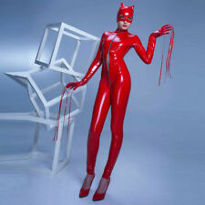 Halloween Costumes adult Sexy Red Devil Catwoman Catsuit open eyes&mouth Zentai