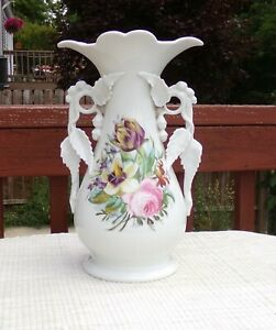 19th Century Old Paris Hand Painted Vase Sculpted Bell Flower and Leaf Handles
