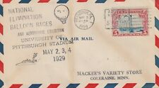 1929 USA cover National Elimination Baloon Races Pittsburgh