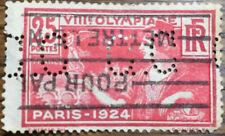Sello Francia Olimpiada 1924 PERFORADO usado Yvert 184 25 c. rojo