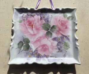 Shabby Antique Style Hand-Painted Porcelain Wall Hanging Plaque Pink Rose