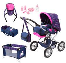 Bayer Design Kombi-Puppenwagen Grande Einhorn mit Zubehör (Marine-Pink)