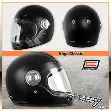 Casco Moto Integrale in Fibra Vintage origine Vega Stripe Black opaco Taglia L