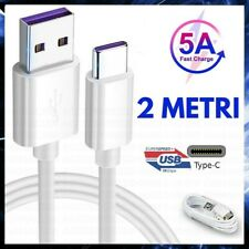 CAVO RICARICA VELOCE 5A USB TIPO TYPE C CAVETTO 2 METRI FAST SUPER CHARGE HUAWEI