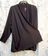 SOFT VERY BLACK OPEN DRAPE FRONT STRETCH KNIT CARDIGAN JACKET SWEATER TOP~3X~NEW