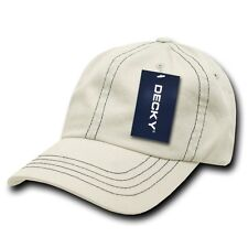 Stone & Navy Blue Washed Cotton Polo Blank Plain Solid Decky Baseball Cap Hat