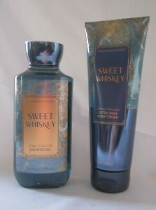 Bath and & Body Works SWEET WHISKEY Shower Gel & Body Cream  Lot of 2 TWO