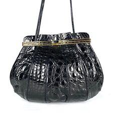 Judith Leiber Vintage Rare Crocodile Alligator Leather Karung Black Shoulder Bag
