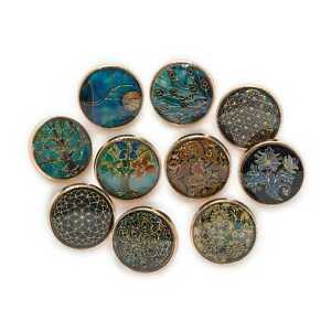 5pcs Retro Time gem Round Metal Buttons for Clothing Sewing Handmade Decor 18mm
