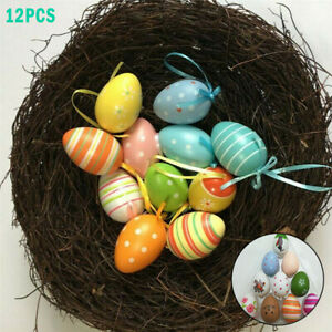 12PCS Multicolored Easter Egg Hanging Ornament Painted Eggs DIY Craft Decorative