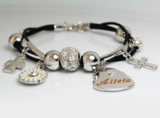 Genuine Braided Leather Charm Bracelet With Name - ALICIA - Gifts for her