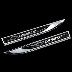 2pcs Metal CHEVROLET Blade FENDER BADGE Emblems Sticker for sport Black