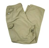 Columbia Mens Convertible 2 In 1 Hiking Outdoor Pants Shorts Beige Nylon 36x32