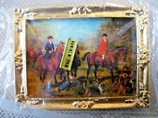Collectable Dolls House Accessories-Framed Picture: Hunting Scene-Taiwan-BNIP