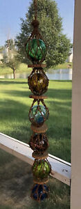Vintage Wall Hanging Glass Blown Balls Twine Cork 29 Inches