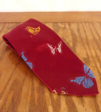"Vtg Euc San-Remo Bright Red Butterfly 100 Polyester Necktie Tie 58"" 4"""
