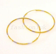 Women's 24K Yellow & White Gold Plated Big 5cm Hoop Circle Earrings Multi-colour