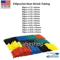 530Pcs Assorted Polyolefin Heat Shrink Tubing Tube Cable Sleeves Wrap Wire