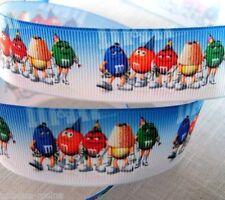 RUBAN GROS GRAIN IMPRIMÉ ** 25 mm ** BONHOMMES PERSONNAGES m&m's Bleu - au mètre