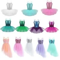 Kids Girls Sequined Ballet Tutu Dress Mermaid Gymnastics Leotard Sparkly Costume
