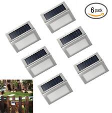 Waterproof 6pcs Solar Powered LED Fence Pathway Garden Lights Wall Deck Lighting