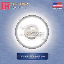5Pcs 5W Watt High Power Royal Blue 440-450nm LED Diodes Lamp Beads Bulb Chip