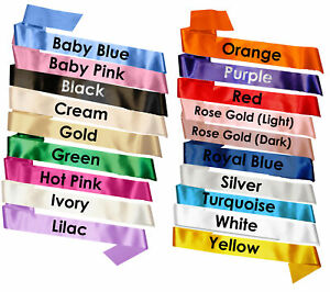 Make Your Own Sashes Plain Blank Sash Various Colours Rose Gold Pink Blue