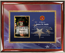 Firefighter Picture Frame Personalized Fireman Photo Plaque Fire Fighter Gift