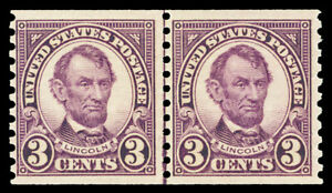 Scott 600 1924 3c Lincoln Coil Issue Mint Joint Line Pair Fine OG NH Cat $60