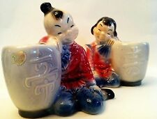 VINTAGE 1940'S ROYAL COPLEY ASIAN BOY & GIRL VASE PLANTER ONE WITH STICKER!!
