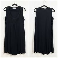 NY Collection XL Womens Black Ruffle Knit Sleeveless Shift Dress