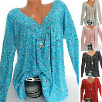 Womens Boho T Shirt Tunic Tops Ladies Loose Long Sleeve Baggy Blouse Plus Size