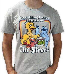 Mens Medium 38-40 Sesame Street Shirt Cookie Monster Elmo Oscar Big Bird Fun Tee