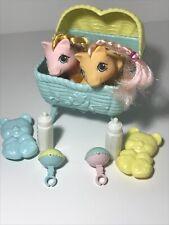 VTG My Little Pony Newborn Twins DIBBLES  NIBBLES Bear Brush Bassinet Bottles G1