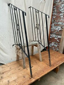 Vintage Wrought Iron Outdoor Steps Handrails Angled WEST YORKSHIRE £100