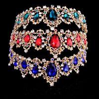 1X(Baroque Crown Crystal Bridal Tiaras Crown Vintage Gold Hair Accessories G6Y4