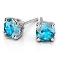 3.00 Ct Round Cut Solitaire Aquamarine Earring 14K White Gold Stud Earrings