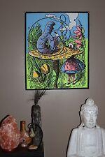 Alice in Wonderland // caterpillar mushroom UV Blacklight tapestry Fabric Poster