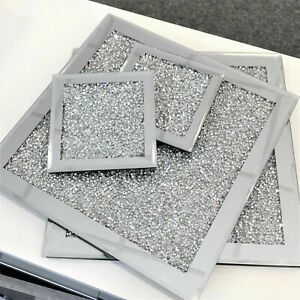 Set of 4 SILVER COASTER TABLE MAT Crushed Diamond Romany Sparkly Dining placemat